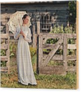 Beautiful Woman In White Dress With Parasol Wood Print