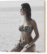 Beautiful Woman On The Beach Wood Print by Jelena Jovanovic