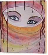 Beautiful Woman With Niqab Watercolor Painting Wood Print