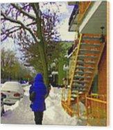 Beautiful Yellow Staircase Verdun Snow Scene Montreal Art Colors Of Quebec Carole Spandau Wood Print