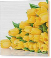 Beautiful Yellow Tulips Valentine Wood Print