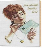 Beautiful Young Woman Holding Love Letter Vintage Vector Wood Print