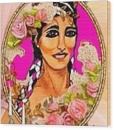 Beauty And Flowers 1 Wood Print