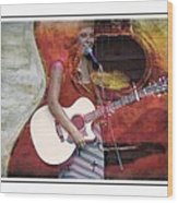 Beauty And Her Guitar Wood Print