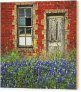Beauty And The Door - Texas Bluebonnets Wildflowers Landscape Door Flowers Wood Print