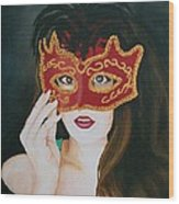 Beauty And The Mask Wood Print