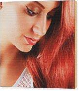 Beauty In Red Hair Wood Print