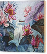 Beauty Of The Lake Hand Embroidery Wood Print