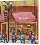 Beauty's Restaurant Paintings Of Plateau Montreal Winter Scenes Hockey Art Carole Spandau  Wood Print