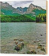Beauvert Lake In Jasper Np-ab Wood Print
