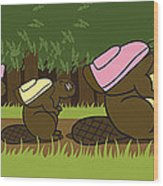 Beaver Family Walk Wood Print by Christy Beckwith
