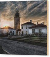 Beavertail Lighthouse Sunset Wood Print