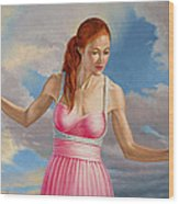 Becca In Pink Wood Print by Paul Krapf