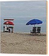Beach Chairs Panorama Hilton Head  Wood Print