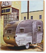 Becky's Vintage Travel Trailer Wood Print