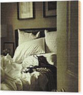 Bedroom Scene With Under Garments On Bed Wood Print