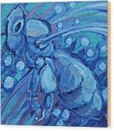 Bee Blue Wood Print