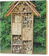 Bee House Wood Print by Olivier Le Queinec