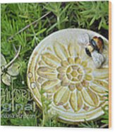 Bee-ware Wood Print by Amanda  Sanford