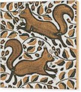 Beechnut Squirrels Wood Print