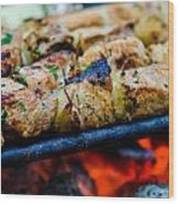 Beef Kababs On The Grill Closeup Wood Print