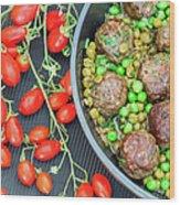 Beef Meatballs With Peas And Lemon Wood Print