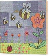 Beeing Happy Wood Print by Julie Bull