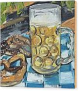 Beer And A Pretzel Wood Print