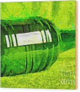 Beer Bottle Laying Over Green Painting Wood Print