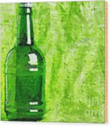 Beer Bottle Over Green Painting Wood Print