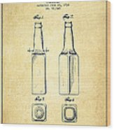 Beer Bottle Patent Drawing From 1934 - Vintage Wood Print by Aged Pixel