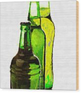 Beer Bottles Of Different Shapes Painting Wood Print