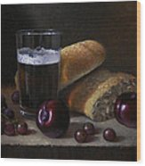 Beer Bread And Fruit Wood Print by Timothy Jones