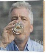 Beer Drinker Wood Print