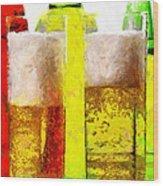 Beer Glasses Against Bottles Closeup Painting Wood Print