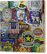 Beer Labels Wood Print by Richard Reeve