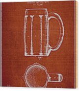 Beer Mug Patent From 1876 - Red Wood Print by Aged Pixel
