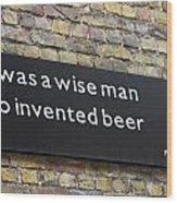 Beer Sign Wood Print