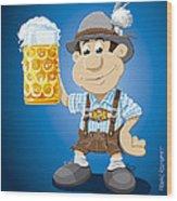 Beer Stein Lederhosen Oktoberfest Cartoon Man Wood Print