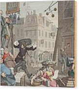 Beer Street, Illustration From Hogarth Wood Print