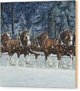 Clydesdales 8 Hitch On A Snowy Day Wood Print