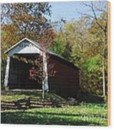 Beeson Covered Bridge 2 Wood Print by Mel Steinhauer