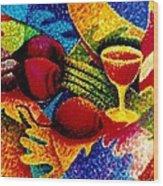 Beet Salad Pointillism Wood Print