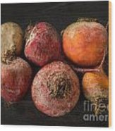 Beets In Different Colors On A Dark Background Wood Print