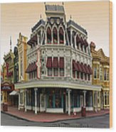 Before The Gates Open Magic Kingdom Main Street. Wood Print