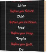 Before You  Wood Print by Barbara Griffin