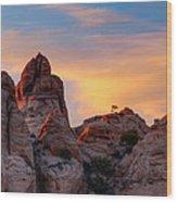 Behind The Rocks Wood Print