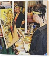 Behind The Scenes - Painting Self Portraits Wood Print by Becky Kim