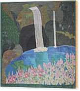 Behind The Waterfall Wood Print