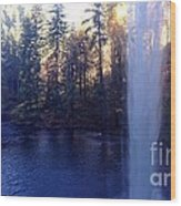 Behind Water Fall  Wood Print